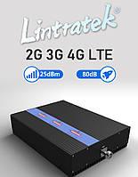 Lintratek 80dB 900+1800+2100MHz МОЩНЫЙ Усилитель/репитер мобильной связи с регулировкой усиления 2G 3G 4G KW25, фото 1