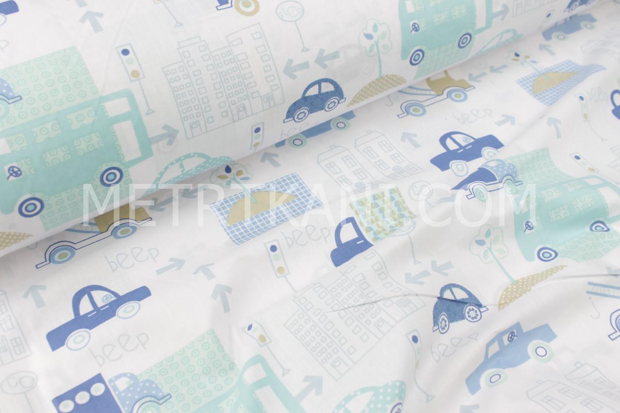 """Ткань хлопковая  """"Машины в городе"""" мятно-голубые на белом фоне  №1723"""
