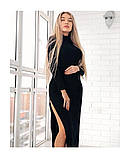 Женское платье в пол под горло с разрезами по бокам 38, фото 2