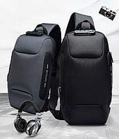 ТОП Рюкзак сумка OZUKO Однолямочный TSA блокиратор USB порт(Подарок)