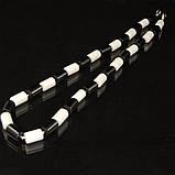 Бусы из белого и черного прессованного агата, трубочка, фото 3