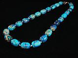 Бусы из варисцита, голубые, бочонок, фото 2