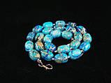 Бусы из варисцита, голубые, бочонок, фото 4
