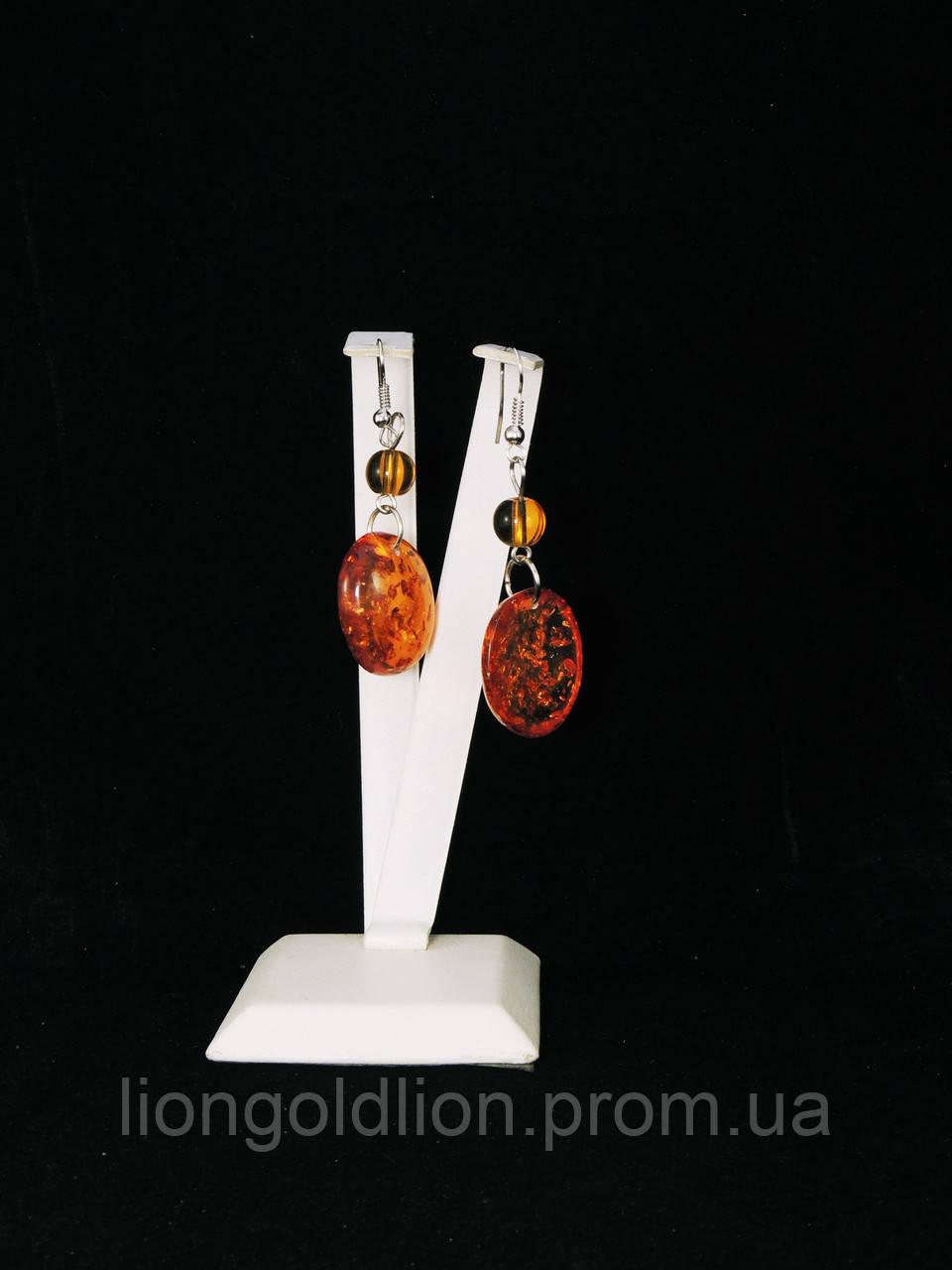 Серьги из янтарной смолы, овал+шарик