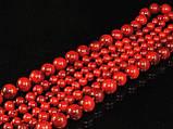 Бусы из красного коралла в 3 ряда, шариками, фото 3