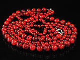 Бусы из красного коралла в 3 ряда, шариками, фото 4