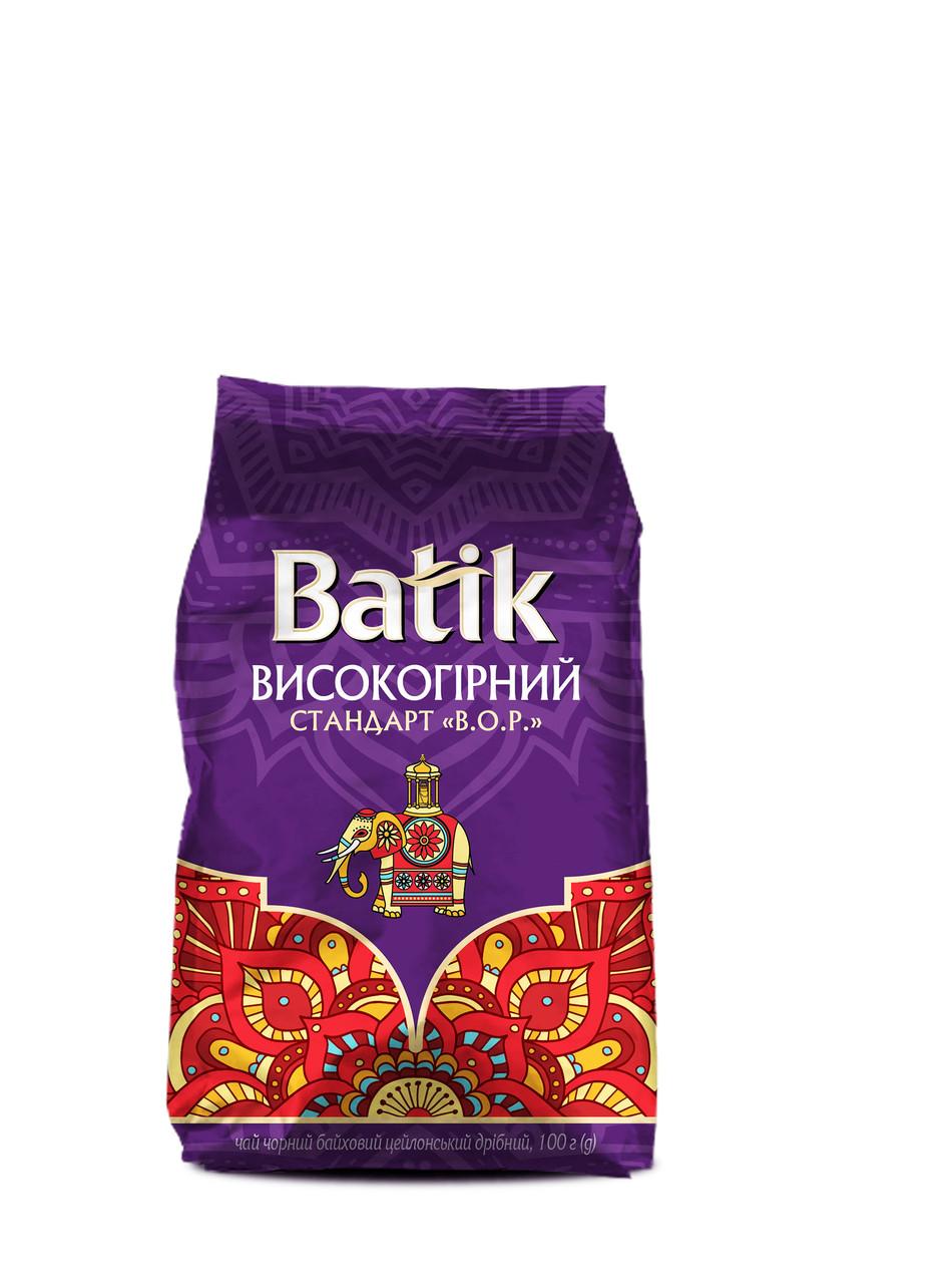 Чай Батік чорний Високогірний BOP 100 грам в м'якій упаковці