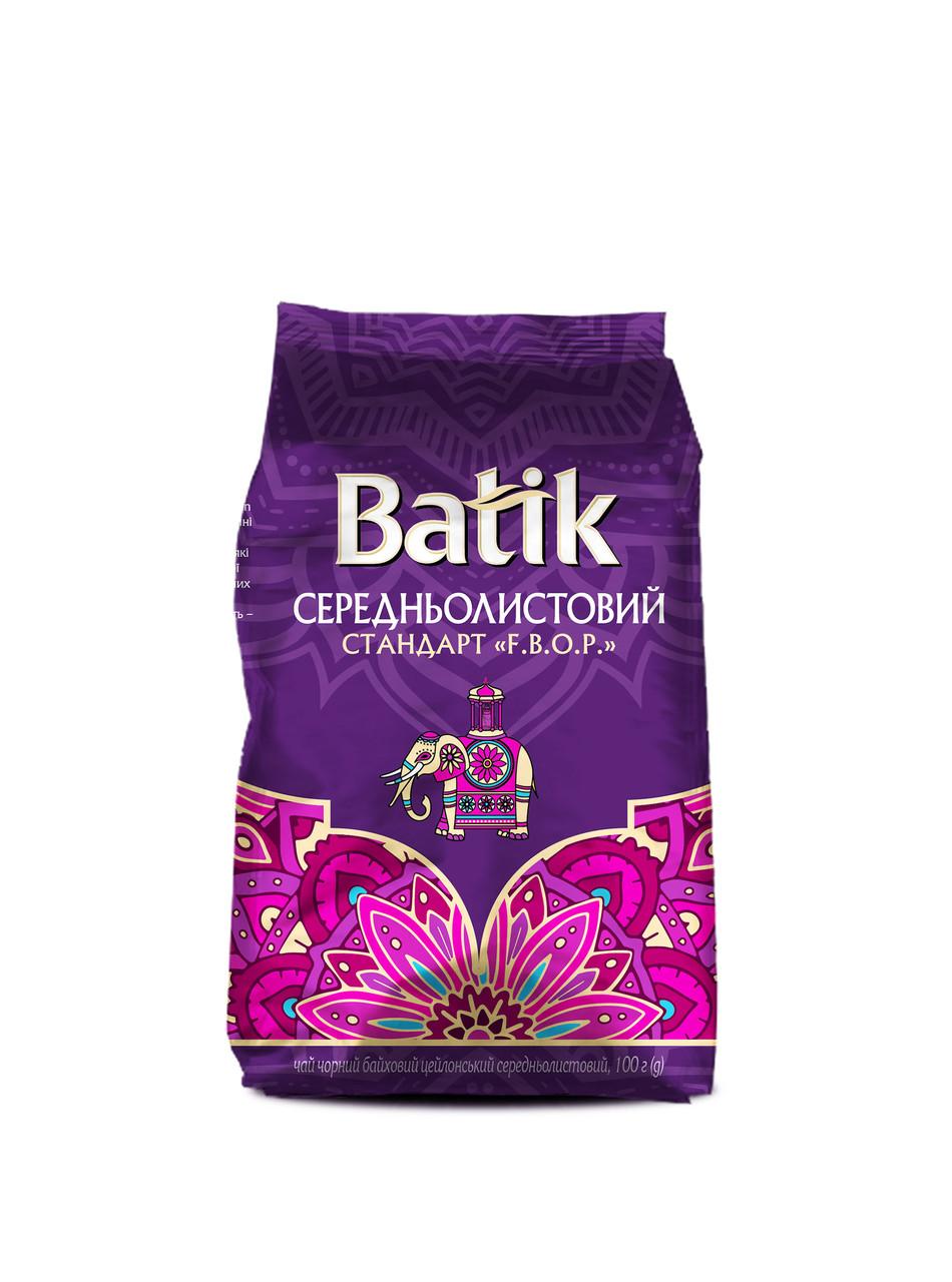 Батик чай черный цейлонский среднелистовой 100 грамм в мягкой упаковке