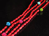 Бусы из коралла с розочками 1,2м, красные, фото 2