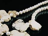 Бусы из жемчуга со вставками гавлита, фото 3