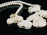Бусы из жемчуга со вставками гавлита, фото 4