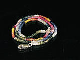 Бусы из цветного сапфира. рондель 3мм, фото 2