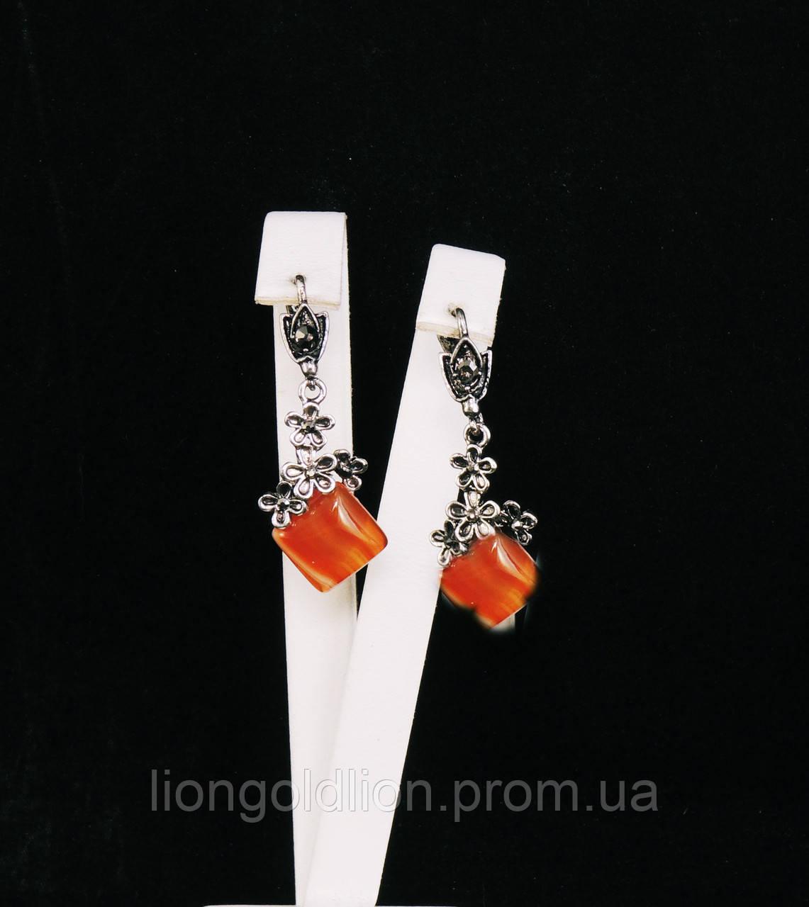 """Серьги из агата """"лиана"""", оранжевый"""