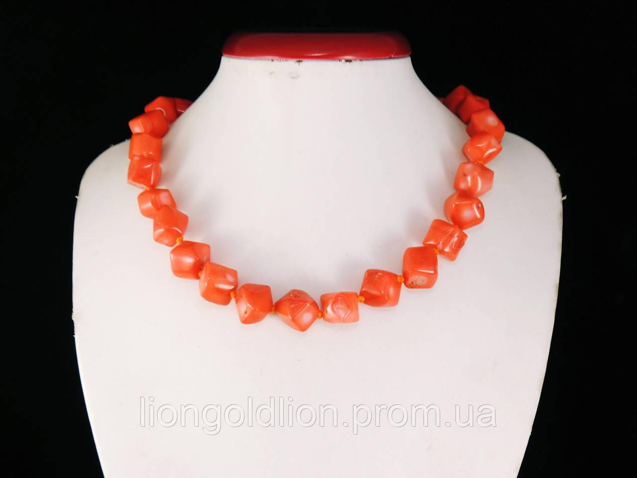 Бусы из коралла куски ромб, оранжевые