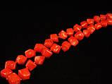 Бусы из коралла куски ромб, оранжевые, фото 3