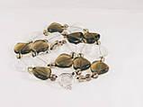 Бусы из раух-топаза и горного хрусталя, монета, фото 4