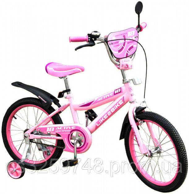 Двухколесный детский велосипед 16 дюймов Like2bike Active 191628 Розовый с боковыми тренировочными колесами