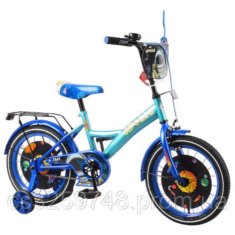 """Детский двухколёсный велосипед 16"""" с металлической рамой TILLY Apollo T-216215 blue + l.blue, фото 2"""
