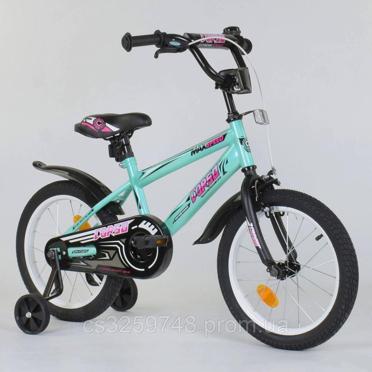 """Двухколесный детский велосипед 16"""" Corso ЕХ-16 N 5171 Бирюзовый, стальная рама, ручной тормоз"""