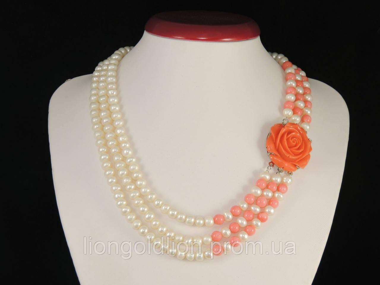 """Колье из жемчуга в три ряда """"Роза"""", со вставками розового коралла"""
