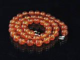 Бусы из рыжего сердолика, шар гладкий 8мм, фото 3