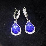 Сережки з синіми камінчиками, фото 3