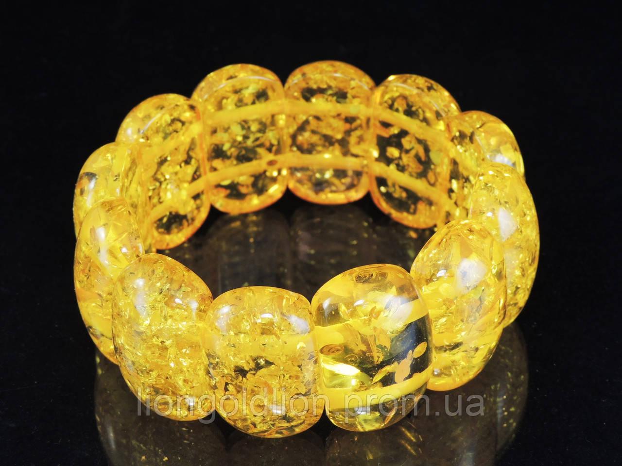 Браслет из янтарной смолы , желтый, овал широкий