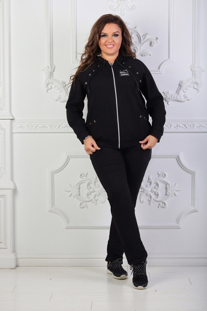 Женский спортивный костюм батал, турецкая двунить, р-р 48-50; 52-54 (чёрный)