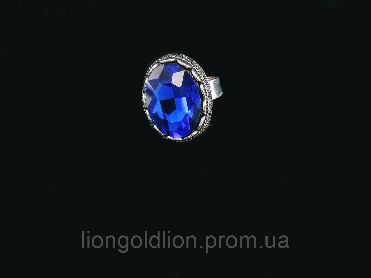 Кольцо из хрусталя в металле, синее