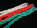 Бусы плетёнка из зеленой бирюзы, шар гладкий 6мм, фото 2