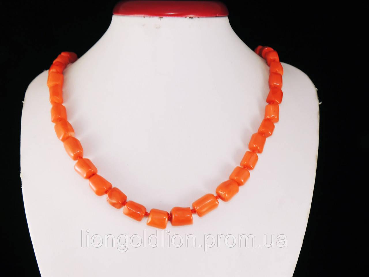 Бусы из коралла кусочки трубочки, оранжевые