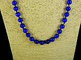Бусы из кошачьего глаза, шар граненный 8мм голубой, фото 2
