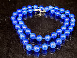 Бусы из кошачьего глаза, шар граненный 8мм голубой, фото 3