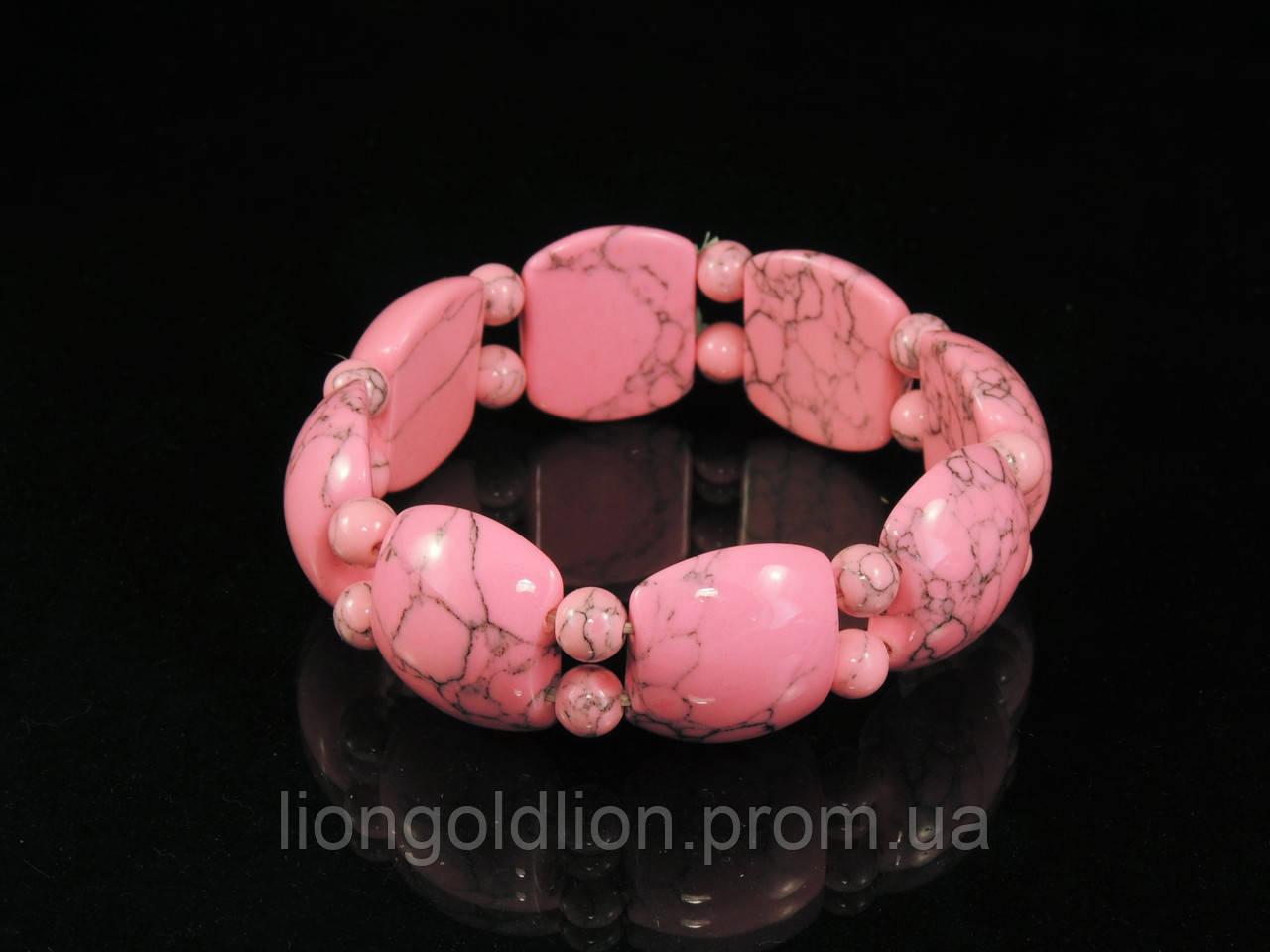 Браслет из розовой бирюзы на резинке, пластина с шариками