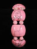 Браслет из розовой бирюзы на резинке, пластина с шариками, фото 2