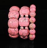 Браслет из розовой бирюзы на резинке, пластина с шариками, фото 3