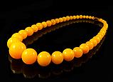 Бусы из янтарной смолы на увеличения,желтые, фото 2