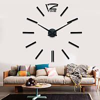 Часы большие настенные Палочки 3Д Черный акриловые диаметр 50-120 см 004Bs