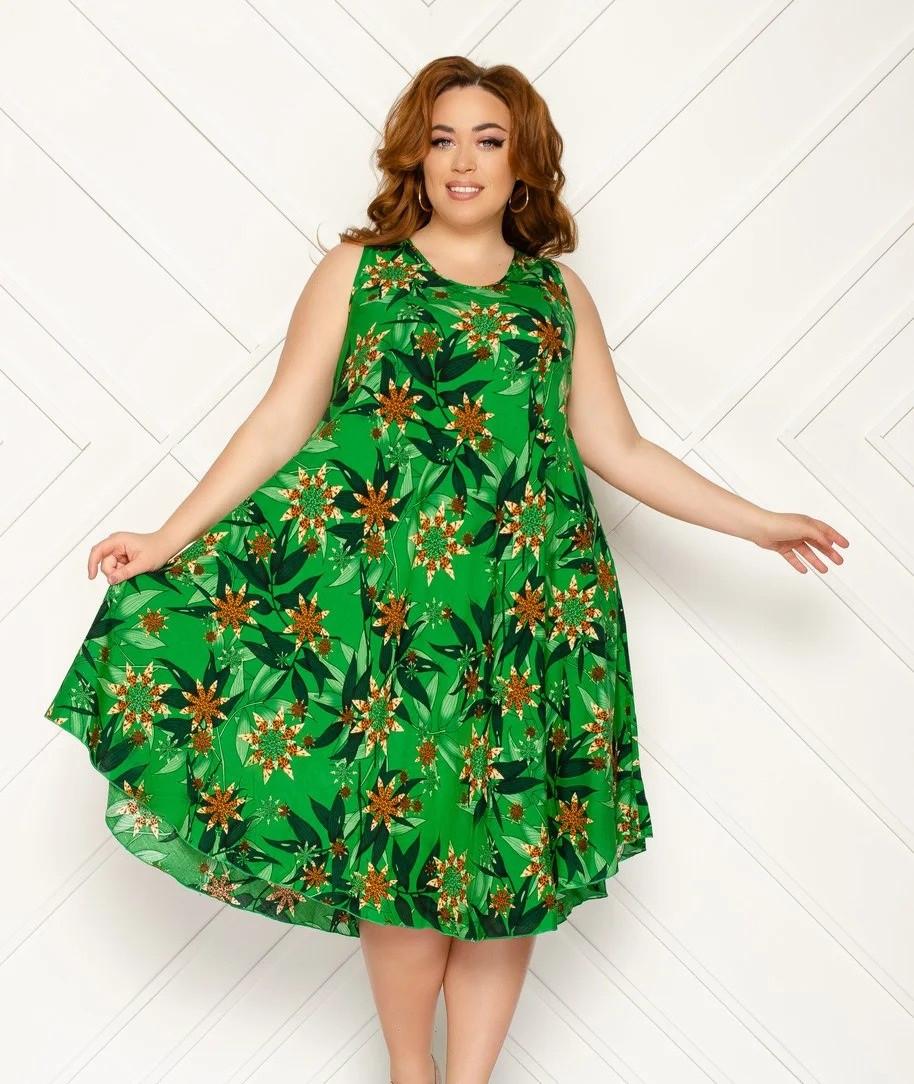 Платье женское среднй длины, без рукава, модель Ламбада, принт -цветочный,  штапель, SAIMEIQI  (размер XXL)