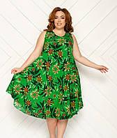 Платье женское среднй длины, без рукава, модель Ламбада, принт -цветочный,  штапель, SAIMEIQI
