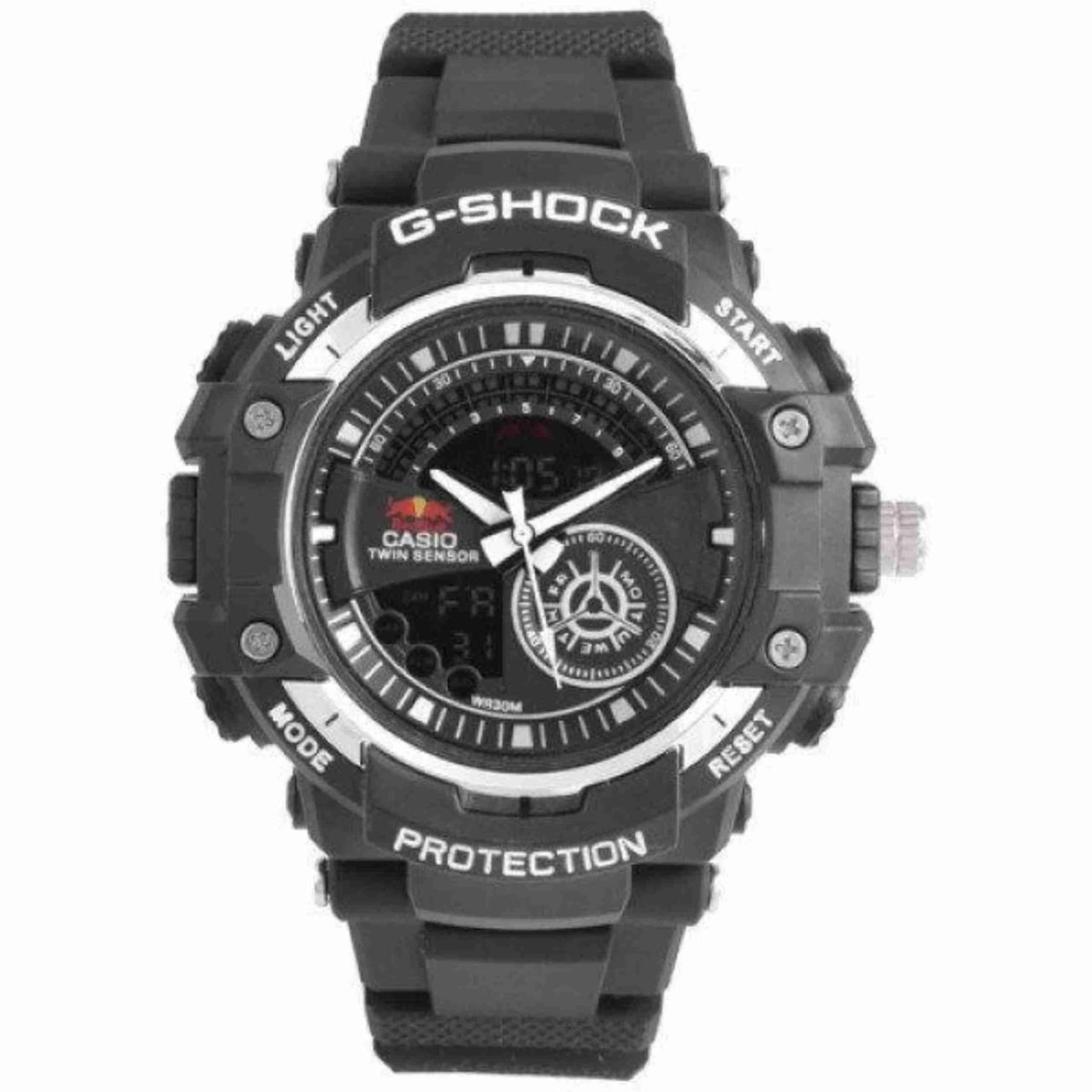 Часы G-SHOCK-3 ЧЕРНЫЕ-СЕРЕБРО Часы мужские спортивные водостойкие G-SHOCK Casio (Касио), цвет черный