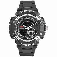 Часы G-SHOCK-3 ЧЕРНЫЕ-СЕРЕБРО Часы мужские спортивные водостойкие G-SHOCK Casio (Касио), цвет черный, фото 1