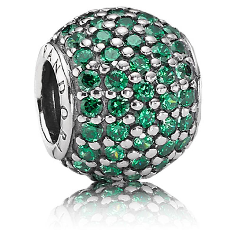 Подвеска-шарм зеленый шар паве в стиле Pandora