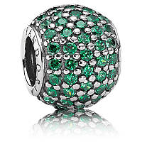 Подвеска-шарм зеленый шар паве из серебра 925 пробы пандора (pandora)