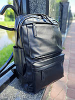 "Рюкзак мужской ""Black"" экокожа, мужской рюкзак из экокожи, рюкзак городской мужской"