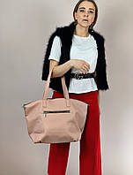 Сумка шоппер женская большая стильная из экокожи розовая