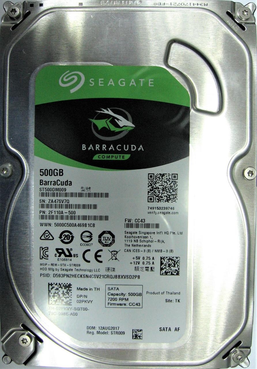 Жесткий диск HDD 500GB 7200rpm 32MB SATA III 3.5 Seagate BarraCuda ST5Нет в наличии