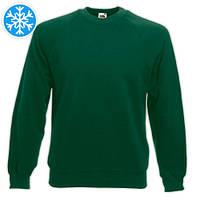 Утепленная мужская толстовка (реглан) темно-зеленого цвета