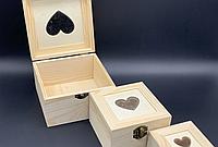 Шкатулка квадратная заготовка из дерева для декупажа и творчества сердце 85х85х55 мм не полностью шлифованная