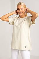 Свободная однотонная пастельная футболка прямого кроя XS, S, M, L